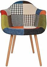 1 x Design Klassiker Patchwork Sessel Retro 50er Jahre Barstuhl Wohnzimmer Küchen Stuhl Esszimmer Sitz Holz Leinen bun