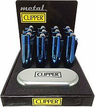 1x Feuerzeug Clipper aus Metall Farbe Ice Blue