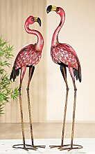 1 x Flamingo Metall rot/schwarz Höhe 97 cm, Gartendeko, Figur, Tierfigur (links (Stückpreis))