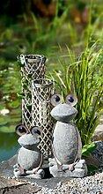 1 x Frosch Fred Magnesi m. Metallaugen Höhe 42 cm, Tierfigur, Gartendeko, Gartenfigur