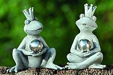 1 x Frosch Galaxy Kunstharz grau Höhe 18 cm, Gartendeko, Gartenfigur, Frog (links)