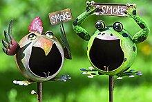 1 x Gartenstab Aschbecher Oki Eisen lackiert Höhe 130 cm, Gartendeko, Frosch, Vogel, Smoke, Raucher (Vogel)