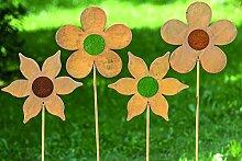 1 x Gartenstab Blume Eisen rost Länge 120 cm, Sommer, Sonne, blühen, Gartendeko, Deko, Gartenstecker (spitzige Blume in rot (links))