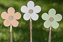 1 x Gartenstab Blume Sperrholz farbmix Höhe 80 cm, Gartenstecker, Flower, Garten, Gartendeko (weiß)