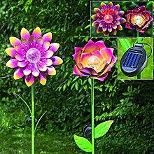 1 x Gartenstab Dota Eisen farbmix Höhe 144 cm Gartendeko, Gartenstecker (halb offene Blume (rechts))