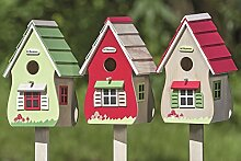 1 x Gartenstab Vogelhaus Sperrholz farbmix Höhe 115 cm, Gartendeko, Vögel (Haus natur)