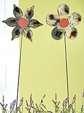1 x Gartenstecker Blume Laser Cut Metall gold/braun/grau metallic rotes Glas Höhe 98 cm, Gartendeko, Pflanze (spitze Blüten)