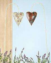 1 x Gartenstecker Herz Metall Höhe 81 cm,