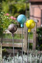 1 x Gartenstecker Kugel Lacio Glas Höhe 114 cm, Gartenstab, Gartendeko (mitte (Stückpreis))