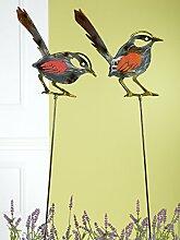 1 x Gartenstecker Vogel Laser Cut Metall gold/braun/grau metallic rotes Glas Höhe 106 cm, Gartendeko, Tier, Spatz (Vogel sieht nach unten (links))