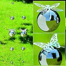 1 x Girlande Galaxy Edelstahl silber Länge 98 cm, Schmetterling, Libelle, Gartendeko, Garten, Kugel (Schmetterling)