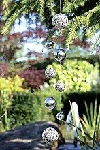 1 x Girlande Globe Edelstahl m. 4 Kugeln, Gartendeko, Garten, Geschenk, Hänger, Fensterhänger (links)