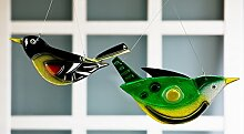 1 x Hänger Vogel ALFI Glas grün gelb 30 cm Dekoration, Fenster, Fensterhänger