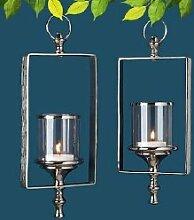 1 x Hängewindlicht Classy Metall silber m. Glasaufsatz Höhe 43 cm, Garten, Sommer, Windlicht, Beleuchtung