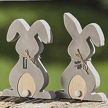 1 x Hase Bunny grau Höhe 20-22 cm, Easter, Ostern, Bunny, Gartendeko (links (Stückpreis))