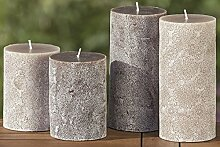 1 x Kerze Mandala Wachs grau Höhe 10 cm,