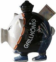 1 x Sparschwein Grillkönig m. Grill Schloss u. Schlüssel, Geld, Geschenk, Spardose, Männer