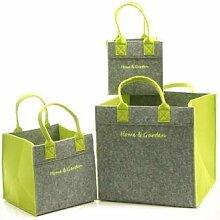 1 x Tasche Home & Garden Filz grau/grün 20/24 oder 34 cm, Aufbewahrung, Garten, Heim (mittel (Stückpreis))