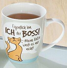 1 x Tasse Eigentlich bin ich der Boss Porzellan