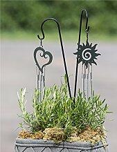 1 x Topfstecker m. Glockenspiel Herz Metall schwarz Höhe 46 cm, Gartenstecker, Gartendeko (Modell Herz (Stückpreis))