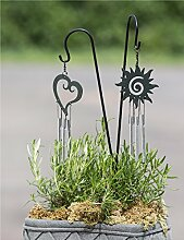 1 x Topfstecker m. Glockenspiel Sonne Metall schwarz Höhe 46 cm, Gartenstecker, Gartendeko (Modell Sonne (Stückpreis))