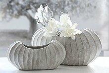 1 x Vase Crease grau matt Keramik 17cm hoch Gilde