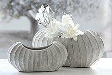 1 x Vase Crease grau matt Keramik 22cm hoch Gilde