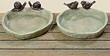 1 x Vogeltränke Lubin Kunstharz braun Ø 21 cm, Vögel, Schnecken, Schale, Gartendeko, Garten, Tiere (Schnecke)