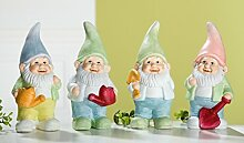 1 x Zwerg Fridolin Keramik stehend H 19,5 cm, Gartenzwerge, Deko, Geschenk, Garten, Gartendeko (mit roter Gießkanne)