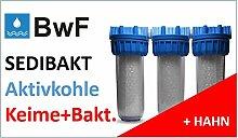 1 Zoll Filteranlage + ABSTELLHAHN (f. Filterwechsel) Wasserfilter Trinkwasserfilter SEDIBAKT Osmose Keimfilter Bakterienfilter Reisefilter Filterkartusche Filterpatrone …