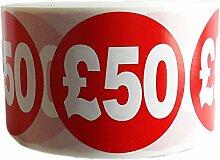10.000bedruckt £50abnehmbaren Preis Etiketten