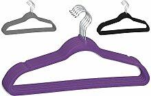 10 - 100 (40) Stück Menge frei wählbar Kleiderbügel Lila aus Kunststoff, samt beflockt, Anti - Rutsch Beschichtung, drehbarem Haken und Hosensteg, Kerben für Rock und Hosenhänger