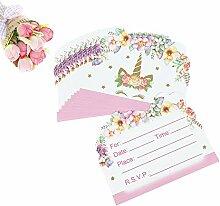 10 / 20Pcs Einhorn Einladungen Karten