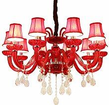 10 Arms Red Kristall Kronleuchter Lampe für