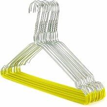 10 Drahtkleiderbügel mit gelber Beflockung - rutschfester Hosensteg - ca. 40 cm Hangerworld