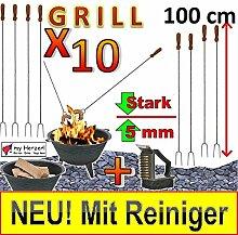 10-er MEGAPACK 1 METER LANGE Grillspieße mit Gabel, Gabelspieß - Besteckset !!! MIT REINIGER-BÜRSTE !!! Extra lange Grillspieße mit Gabel, Gabelspieß - Besteckset Würstchenspiesse 4 Stück-Paket Grillspieß Würstchengriller Bratwurst (Achtung kein Teleskop, sondern feste (stabile) Form aus gedrehtem Stahl) ideal für Grillfest, GartenpartyRaclettes, Picknickset, lange Grillgabel, Schaschlik, Schaschlikspieße, Besteckset, gabel und Wender usw.