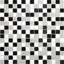10 Glas Mosaik Fliesen Matte in Schwarz grauen und