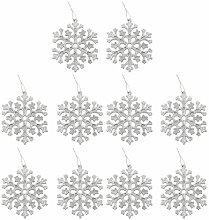 10 Glitter Schneeflocke Form Weihnachten Christbaumschmuck Kleiderbügel Verzierungen Rot - Silber
