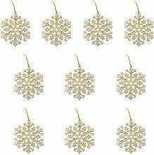 10 Glitter Schneeflocke Form Weihnachtsbaumdekoration Kleiderbügel Verzierungen - Gold
