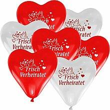 10 Herzballons HE geeignet - Ø 30cm - ROT / WEISS