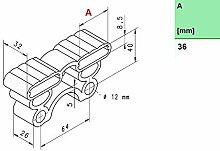 10 Kautschukkappen in grau/schwarz mit befestigungs Lasche 10er Paket viele Varianten (36x32x8,5 mm Breite x Tiefe x Höhe (Duo))