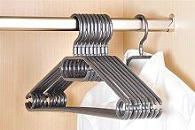 10 Kleiderbügel aus Kunststoff, grau, Breite