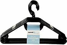 10 Kleiderbügel Kunststoff Schwarz mit Antirutschrillen Made in Germany