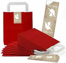 10 kleine rote Papiertüten Papiertaschen mit