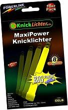 10 Knicklichter GELB! MAXI POWER! Extra dick! 150 x 15 mm! Jetzt im günstigen BIG Sparpack! Neueste Generation. Unter eigenem Label produziert.