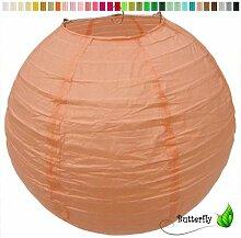 10 Lampions 20cm Set - apricot // Papier Laterne Lampion Lampe Papierlampion Lampenschirm Hochzeit Deko Party Feier