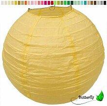 10 Lampions 30cm SET ( gelb ) // Papier Laterne Lampion Lampe Papierlampion Lampenschirm Hochzeit Deko Party Feier
