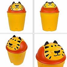 10 Liter Kindereimer Abfalleimer Schwing Deckel Löwen Mülleimer gelb orange Abfall Eimer
