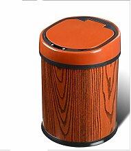 10 Liter Runde Edelstahl Haus Wiederaufladbare Lithium-Batterie Smart Sensor Mülleimer,25*35cm , african pear 10l , 25*35cm