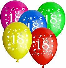 10 Luftballons mit der Zahl 18 D: 30cm bun